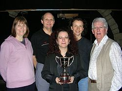 Four of the cast - Joyce Liggins, Peter Buller, Rachel Smith, Debbie Forsyth p with writer/director Nevin Ward and the Michael Wade cup